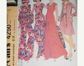 Sale- UNCUT Vintage McCalls 4250, Misses size 16 Dress or Top, Unlined Jacket and Pants, For Unbonded Knits, Bust 38, 1974
