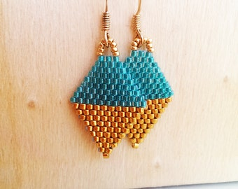 Gold or Silver / Teal Beaded mini Kite earrings
