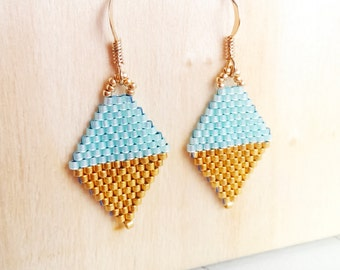 Gold or Silver / Silver Lined Light Mint Beaded mini Kite earrings