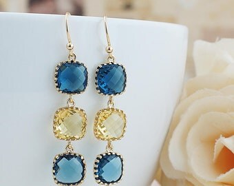 Navy blue and Yellow Glass Dangle Earrings Drop Earrings Wedding Bridesmaid Earrings Bridesmaid Jewelry Bridesmaid Gifts Christmas Gift