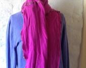 Bright fuchsia cashmere scarf with multi colored mixed colored hand crocheted trim