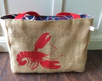 Handmade Lobster Burlap Market Tote Bag