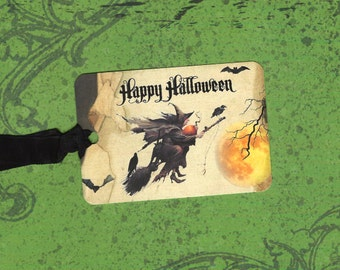 Tags, Halloween, Flying Witch, Happy Halloween Tags
