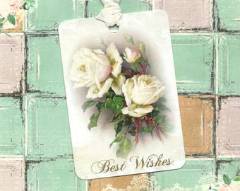 Gift Tags, Roses, Best Wishes, Wedding Tags, Shabby Chic Style
