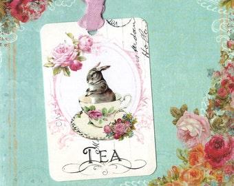 Tags, Gift Tags, Rabbit, Tea, Bunny Rabbit, Bunny Tea