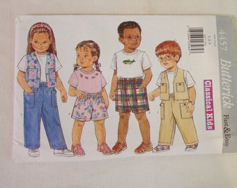 Butterick uncut Sewing Pattern 4457 Toddlers / Childrens Top, Vest, Shorts and Pants size 1, 2 and 3