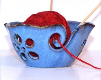 Ruffled Flower Ceramic Yarn Bowl, Yarn Bowl, Knitting Bowl, Crochet Bowl , Bright Sky Blue Yarn Bowl, Ready to Ship