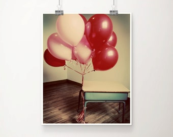 Vintage Fine Art Print Party Balloons School Desk Pink Red Girly Home Decor Wholesale
