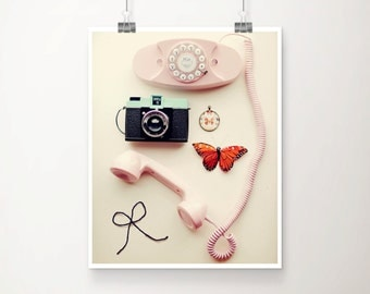 You Are Lovely Fine Art Print Vintage Pink Aqua Phone Butterfly Camera Bow Nursery Home Decor Wholesale