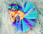 Under The Sea Mermaid Full Tutu, Necklace, Couture Over the Top Headband and Bracelet Outfit Set, First Birthday Outfit Photo Prop, Purple