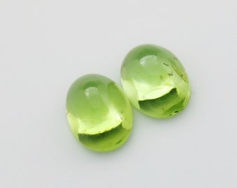 Genuine Peridot Gemstone 5x7mm Oval Cabochons Qty 2