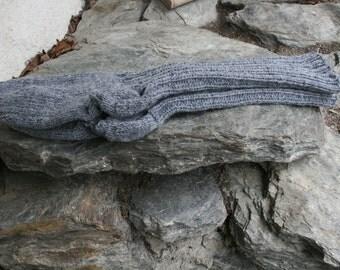 Handknitted Grey Below-Knee Socks