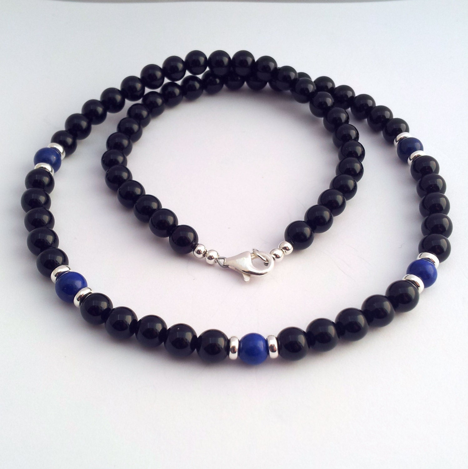 mens black onyx necklace sterling silver lapis by eternalflow