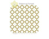 Changing Pad Cover { Sparkle Quatrefoil Gold } white trellis - READY to SHIP