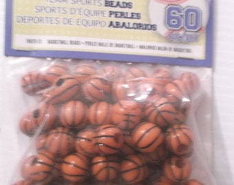 Darice Orange and Black Basketball Team Sports Beads 12 mm Acrylic Unopened Pack of 60 Acrylic Plastic Beads