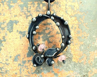 Floral rose quartz wreath silver and mixed metal pendant necklace by Laura Beth Love
