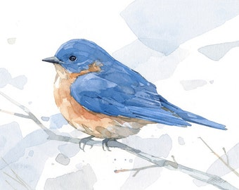 Bluebird watercolor print - woodland painting, bird decor, 5x7