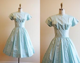 1950s Dress - Vintage 50s Party Dress - Pale Blue Taffeta Bust Shelf Full Skirt Dress S - Time Stood Still