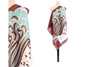 DESIGNER SILK Scarf 90s Abstract Printed Twill Silk Shawl White Sage Brown Mint Handrolled Edges Royal Boho Vintage Luxury Scarf  Women Gift