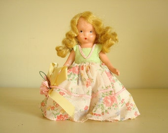 Antique composition doll, real blond hair, girl doll, movable arms, summer party dress and bloomers, collectible vintage doll, baby doll