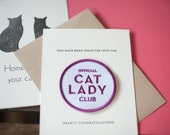 Cat Lady Club - letterpress card & embroidered patch