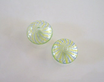 Pair of Clear Venetian Style Striped Blown Glass Beads
