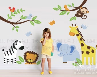 Reusable Fabric Wall Decal Safari animals Monkey, Zebra,Elephant,Lion,Giraffe, birds and branches, interactive decal