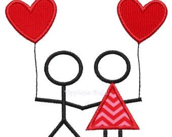 746 Valentine Couple Machine Embroidery Applique Design