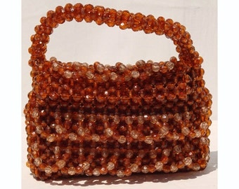 Vintage 1960s Copper Beaded Purse - Handbag
