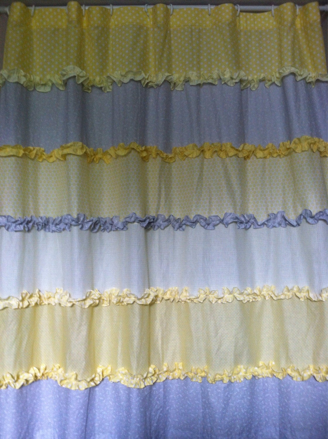 soft yellow and gray ruffled tiered shower curtain. Black Bedroom Furniture Sets. Home Design Ideas