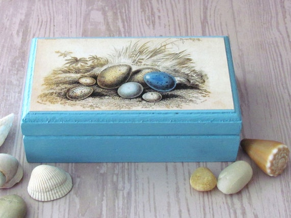 Eggs Print Jewelry Box - Rustic Luxe Decor - Bird Nest theme Business Card Holder - Nautical theme decoration - Collage Box