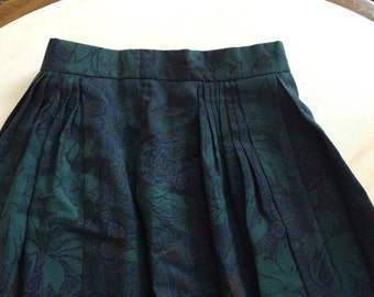 Geiger Austria Green Paisley Floral Skirt Pleated Wool Classic Tyrol Euro 36