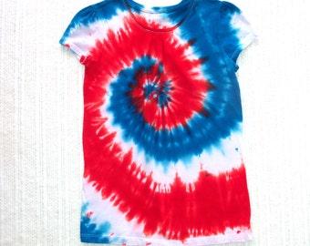 Girl's Tie-dye T-shirt, Size XL (14), red white blue