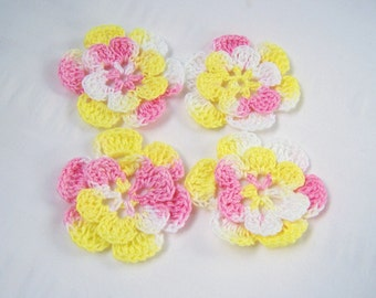 Appliques hand crocheted flowers set of 4 easter peeps cotton 1.5 inch