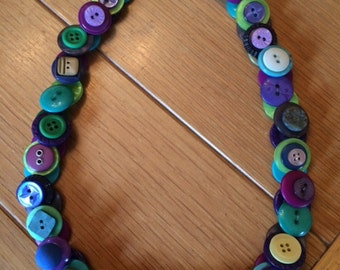 Favorite Blue/Green/Purple Necklace of New & Vintage Buttons