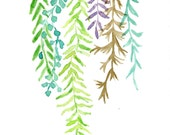 Art print Abstract  Ferns, abstract fern watercolor, fresh color, Plants art, modern wall decor, fern leaves, modern art, ferns art