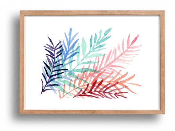 art print Colorful Ferns, modern fern watercolor, fern leaves, tropical art, contemporary art, purple, turquoise, pink,  modern home decor