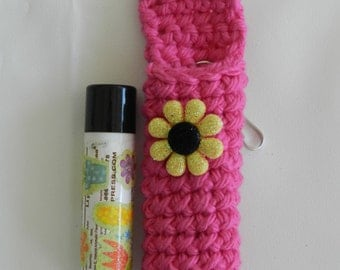 Hot Pink Lip Balm Cozy/ Crocheted Lip Balm Cozy/ Crocheted Hot Pink with aYellow Flower Lip Balm Cozy