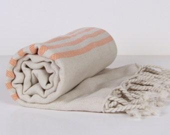Bath Towel / Beach Towel , Turkish Bath Towel...Linen - Cotton PESHTEMAL Cream-Orange