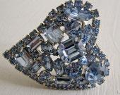 Big Blue Rhinestone Heart Pin-Valentine's Day!