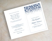 Navy blue polka dot bi-fold wedding programs, ceremony program, leaflet, mass booklet, polka dot wedding programs, confetti, formal, Glitter