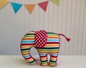 Plush Elephant Multi Color Stripes Nursery Decor Red Blue Orange Green Ready to Ship