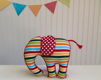 Plush Elephant Multi Color Stripes Nursery Decor Red Blue Orange Green Ready to Ship