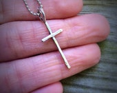 Hammered cross sterling silver necklace on a 16 inch ball chain