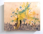 Wood Panel New York Skyline Art Print from Original Watercolor Painting on Wood 8x10 in New York Skyline Cityscape Art Print On Wood Panel