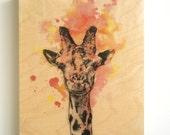 Wood Panel Giraffe Animal Art on Wood 8X10 in. Giraffe Nursery Art Decor Great Giraffe Painting on Wood Wall Art