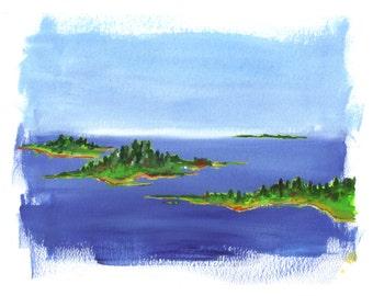 Maine Landscape Art Print From Original Watercolor Painting 8 x 10 in Maine Islands Landscape Seascape Painting Island Art Print