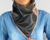 Unisex Bandana Cowl Genuine Leather Men Scarf Neckwarmer, Dark Brown Powder Tan Color Dad Grandfather Husband Gift Winter Neckwear, Handmade