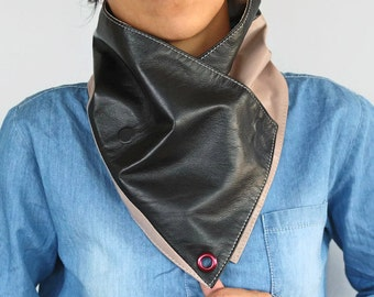 Unisex Bandana Cowl Genuine Leather Men Scarf Neckwarmer, Dark Brown Powder Tan Color Dad Grandfather Husband Gift Winter Neckwear, Handmade
