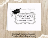 Thank You Cards / GRADUATION / Set 8 Notecards Stationery / High School College Girl Boy / Silver Grey / Personalized 3 Day Ship (nc)